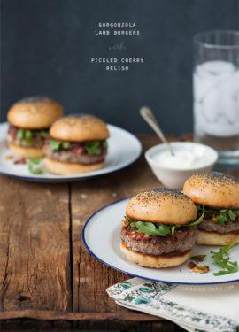 Gorgonzola Lamb Burgers with Pickled Cherry Relish