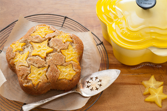 Starfruit Upside Down Cake Recipe for Le Creuset