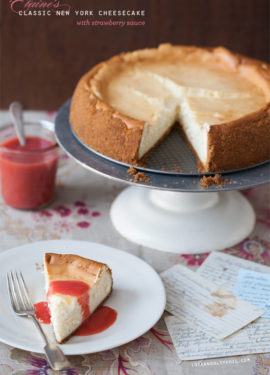 Elaine's New York Cheesecake with Strawberry Sauce
