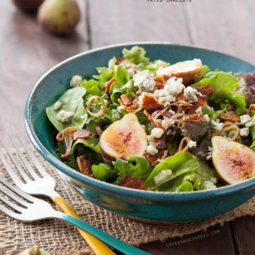 Fig, Blue Cheese, and Bacon Salad with Fried Shallots