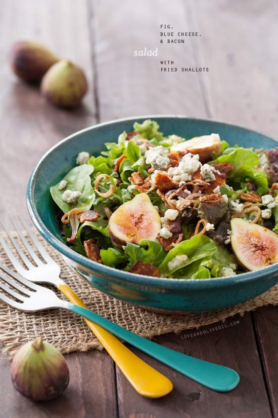 Fig, Blue Cheese, and Bacon Salad with Fried Shallots | Love and Olive ...