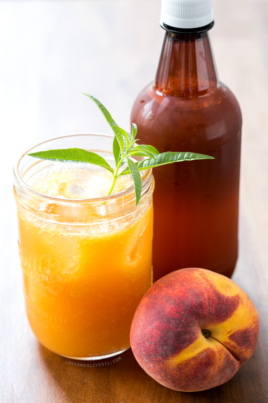 Fresh Peach and Lemon Verbena Soda