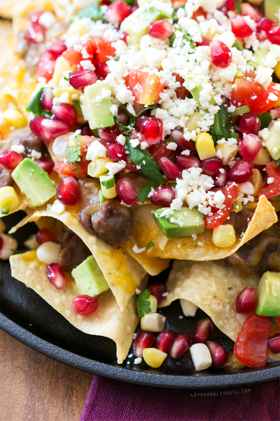 Black Bean Nachos with Pomegranate Salsa