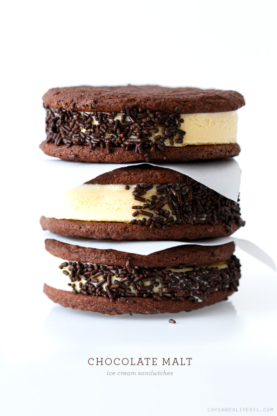 Chocolate Malt Ice Cream Sandwiches (and a GIVEAWAY!) | Love and Olive ...