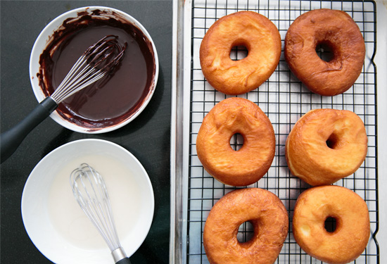 Homemade Raised Doughnuts with Moonshine Glaze