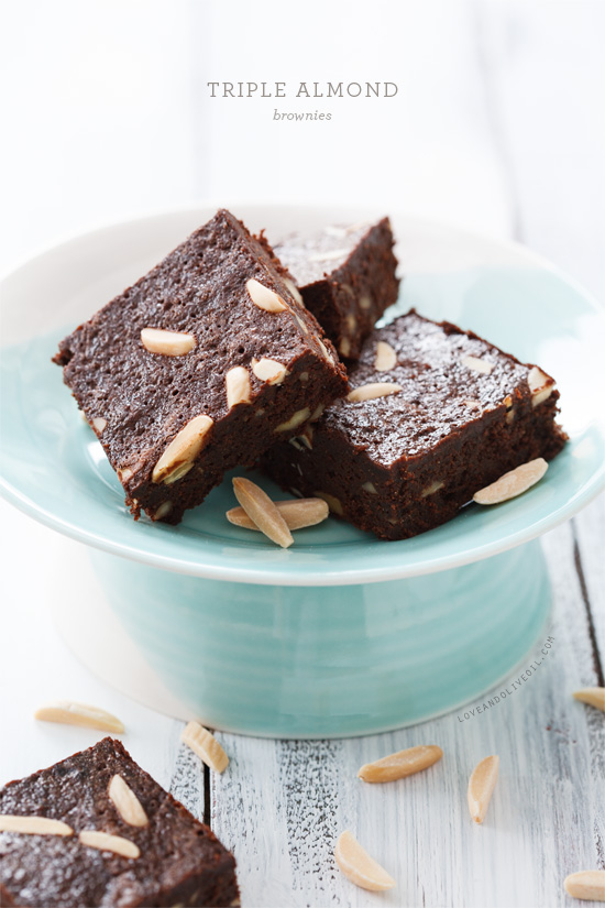 Triple Almond Brownies