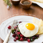 Sunny Side Up Beet Hash with Crispy Rice Cakes