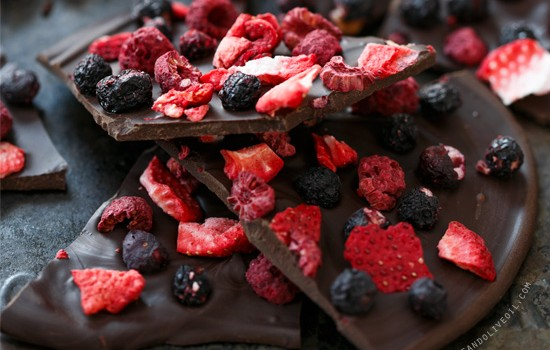 Fruity Chocolate Bark with Freeze-Dried Fruit