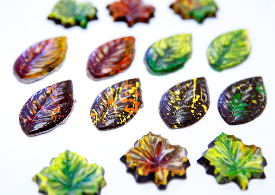 Handpainted Autumn Leaf Chocolates