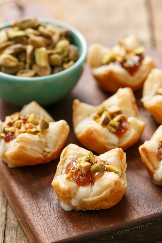 Mini Brie Puff Pastry Bites with Fruit Preserves and Pistachios