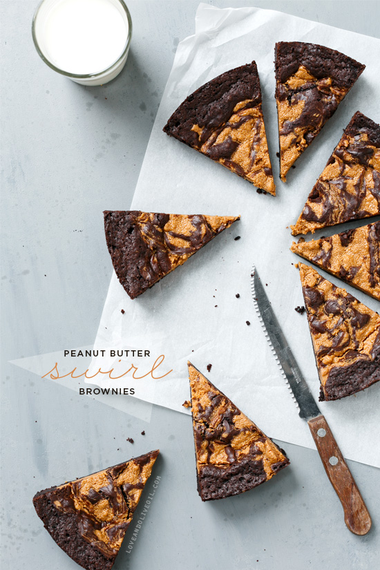 Peanut Butter Swirl Brownies | Love and Olive Oil