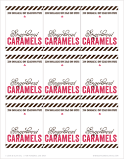 Free Printable Gingerbread Caramel Labels