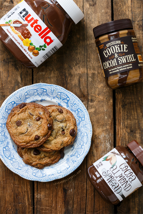 Salted Triple Chocolate Chip Cookies Stuffed with Nutella, Cookie Butter, and Cocoa Almond Spread