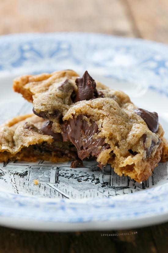Stuffed Triple Chocolate Chip Cookies with Sea Salt