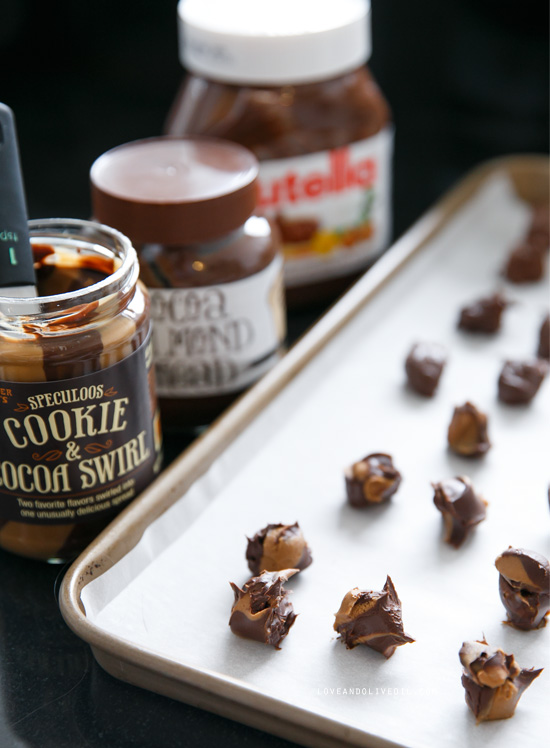 Nutella, Biscoff, and Cocoa Almond Butter Stuffed Cookies