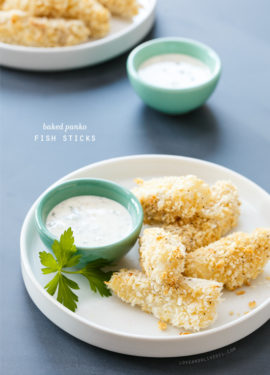 Baked Panko-Breaded Fish Sticks with Lemon-Caper Mayonnaise