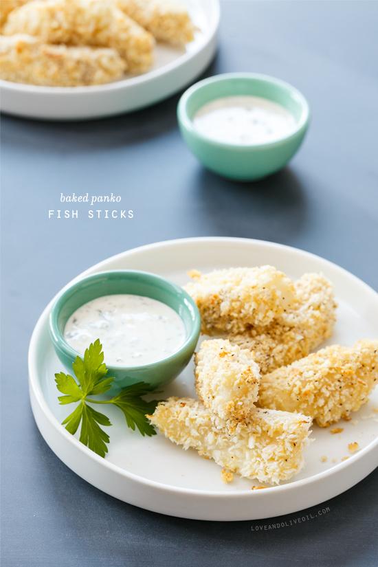 Baked Panko-Breaded Fish Sticks with Lemon-Caper Mayonnaise