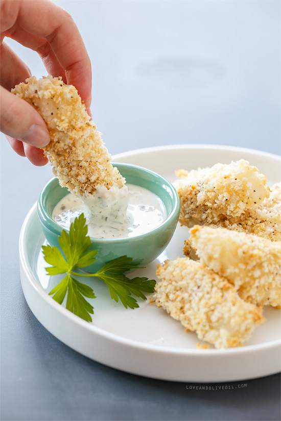 Baked panko fish sticks with lemon caper mayonnaise love for Sauce for fish sticks
