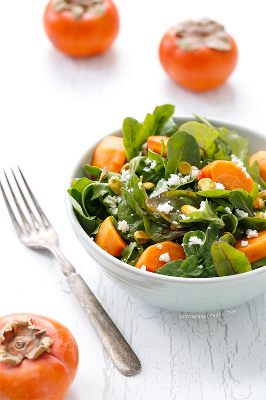 Persimmon Salad with Pistachios, Goat Cheese, and Blood Orange Vinaigrette