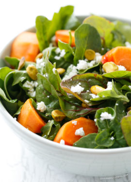 Persimmon Salad with Pistachios, Goat Cheese, and Blood Orange ...