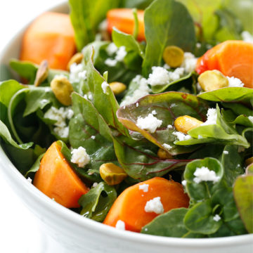 Persimmon Salad with Pistachios, Goat Cheese, and Blood Orange Viniagrette
