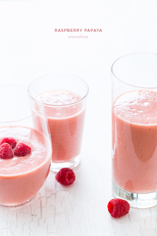 Raspberry Papaya Smoothies