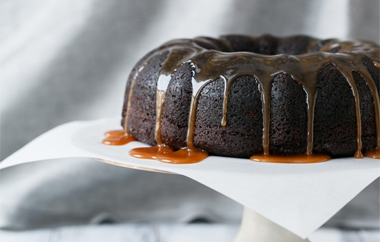 Chocolate Whiskey Bundt Cake with Whiskey Caramel Sauce