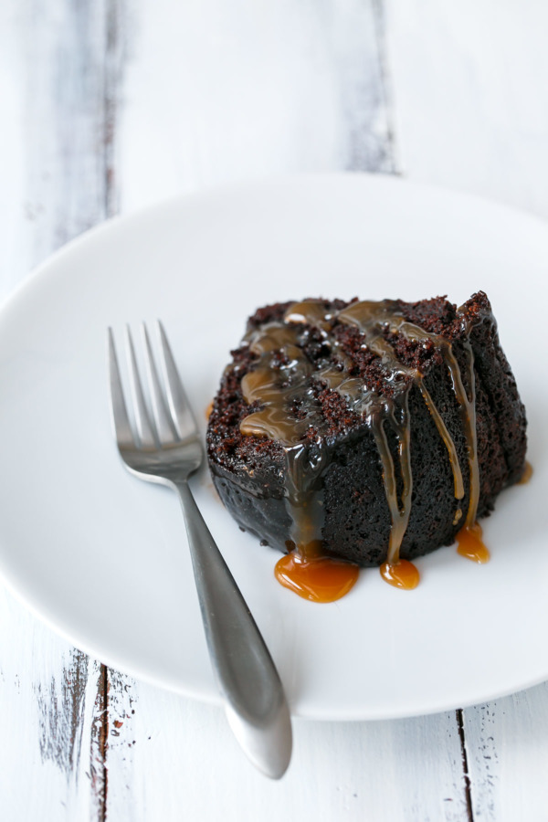 Ultra moist chocolate bundt cake, spiked with whiskey and drizzled with whiskey-infused caramel