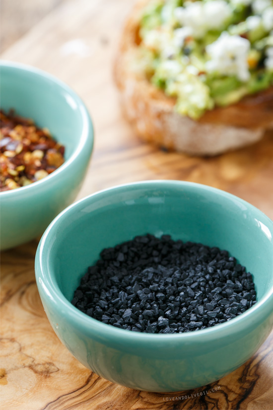 Black Lava Salt for Goat Cheese & Avocado Toast from @loveandoliveoil
