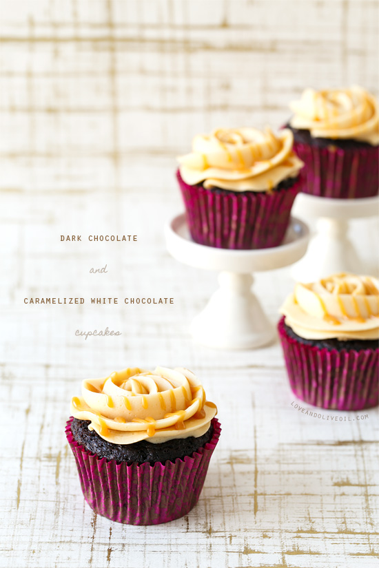 Dark Chocolate and Caramelized White Chocolate Cupcakes from @loveandoliveoil