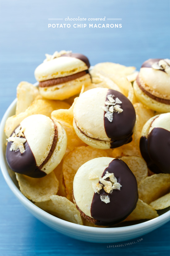 Chocolate Covered Potato Chip Macarons from @loveandoliveoil