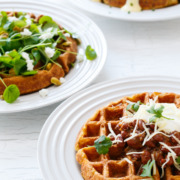 Savory Cornmeal Waffles from @loveandoliveoil