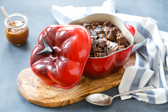 Spicy Chocolate Bread Pudding with Dulce de Leche from @loveandoliveoil