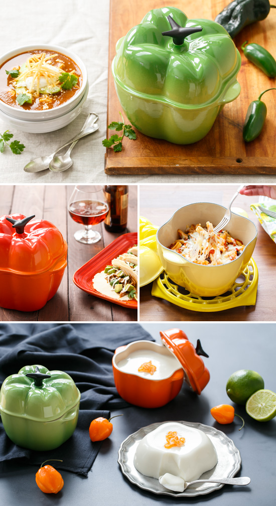 Pepper Cocotte recipes (Tortilla Soup, Beer-braised Chicken Tacos, Spicy Tomato Baked Pasta, Habanero Lime Panna Cotta) from @loveandoliveoil