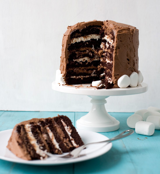 Six-Layer Chocolate Cake with Toasted Marshmallow Filling & Malted Chocolate Frosting