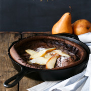 Chocolate Dutch Baby with Caramelized Pears from @loveandoliveoil