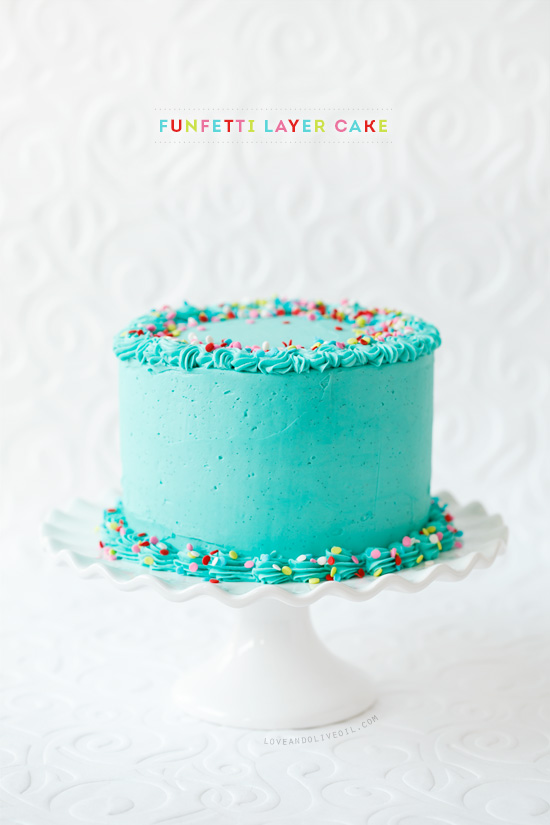 Frosted Funfetti Layer Cake from @loveandoliveoil