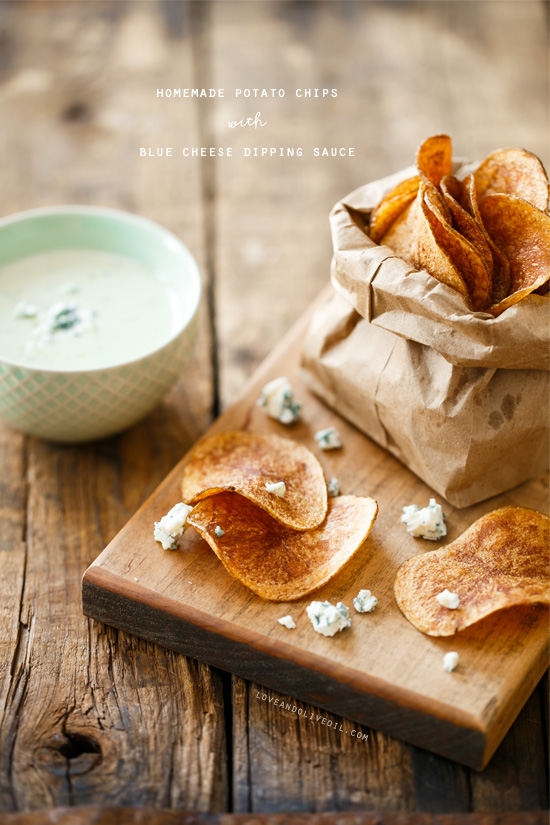 Homemade Potato Chips with Blue Cheese Dipping Sauce from @loveandoliveoil