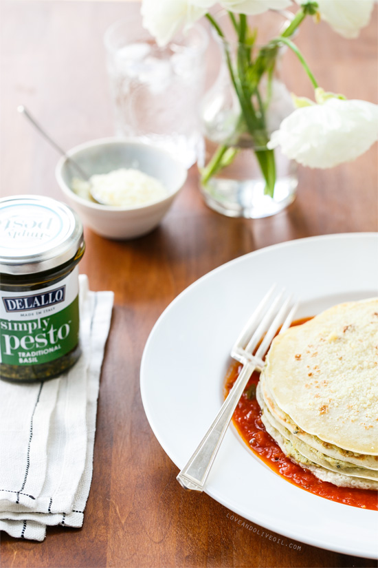 Layered Panigacci with Pesto and Ricotta from @loveandoliveoil