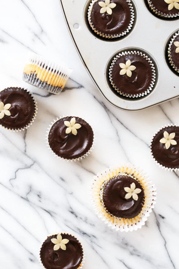 Marzipan Mini Cheesecake Recipe with Chocolate Ganache Topping