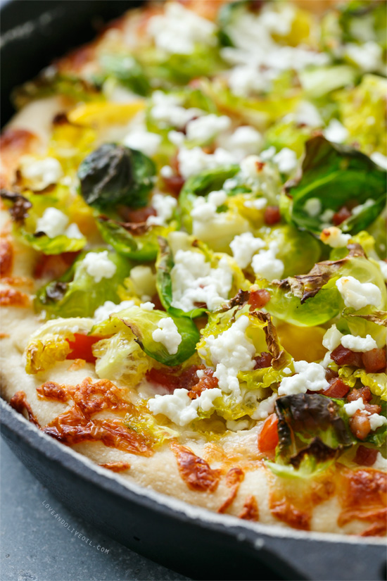Cast Iron Skillet Pizza with Goat Cheese and Brussels Sprouts from @loveandoliveoil