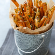 Homemade French Fries with Fresh Garlic and Dill from @loveandoliveoil