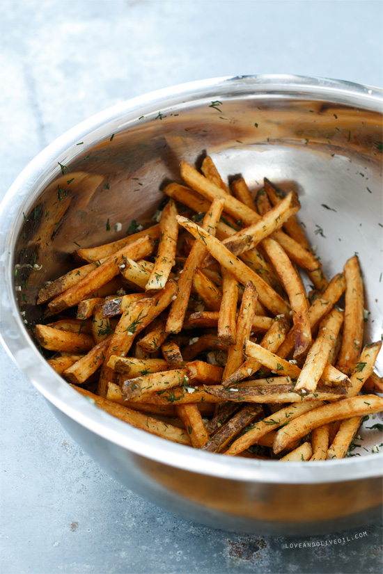 Homemade French Fries With Fresh Garlic And Dill Love And Olive Oil