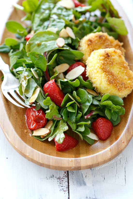 Purslane and Pickled Strawberry Salad with Fried Goat Cheese from @loveandoliveoil