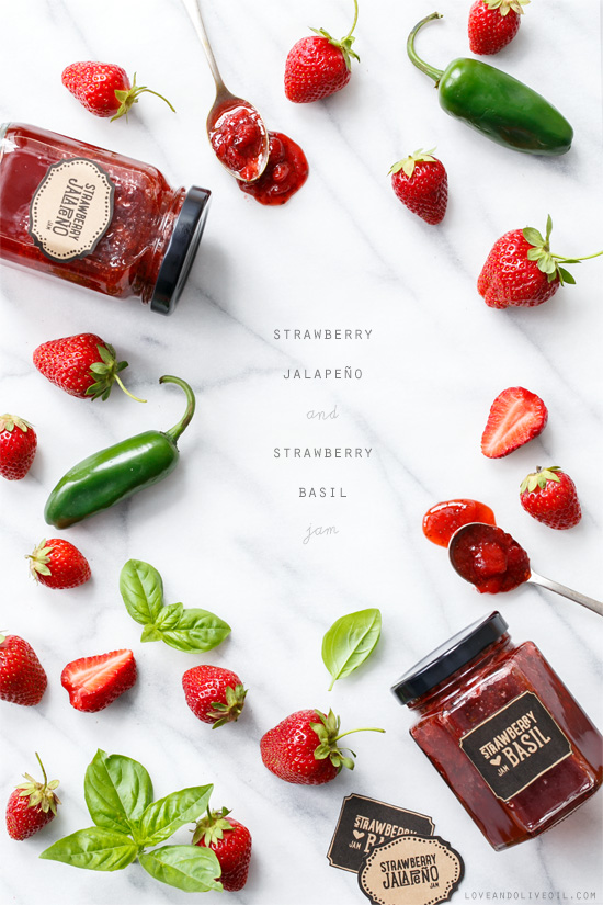 Strawberry Jalapeño and Strawberry Basil Jam from @loveandoliveoil
