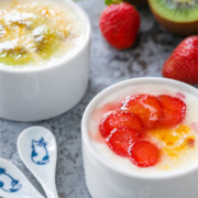 Bruleéd Yogurt with Strawberries and Kiwis from @loveandoliveoil