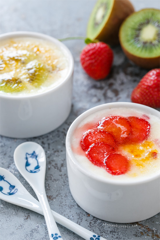 Brûléed Yogurt with Strawberries and Kiwis from @loveandoliveoil
