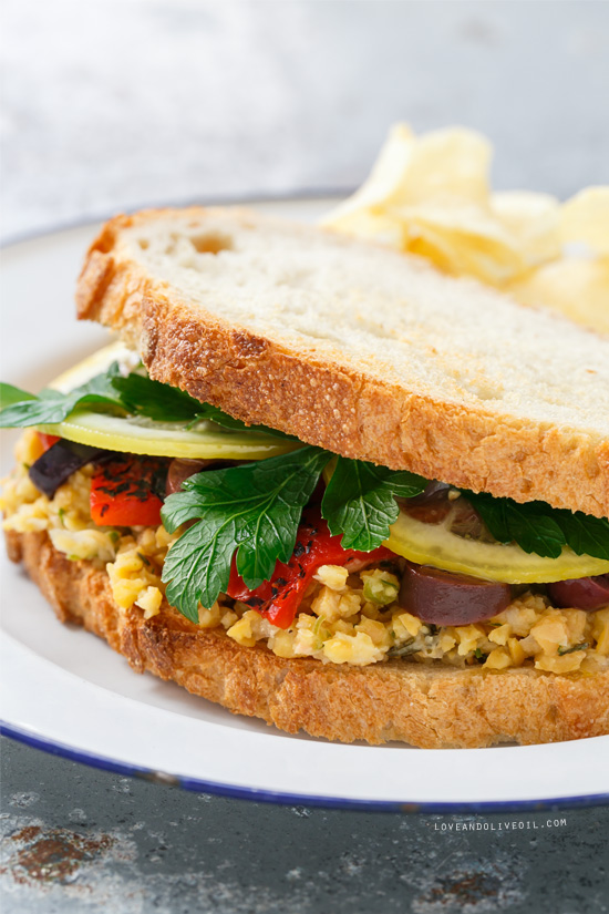 Marinated Chickpea Sandwiches with Lemon Confit, Parsley, Olives, and Roasted Red Peppers from @loveandoliveoil