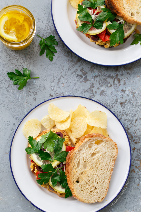 Marinated Chickpea Sandwiches with Lemon Confit from @loveandoliveoil
