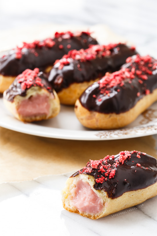 Chocolate Covered Strawberry Eclairs from @loveandoliveoil